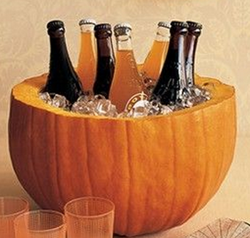 Pumpkin drink holder with ice